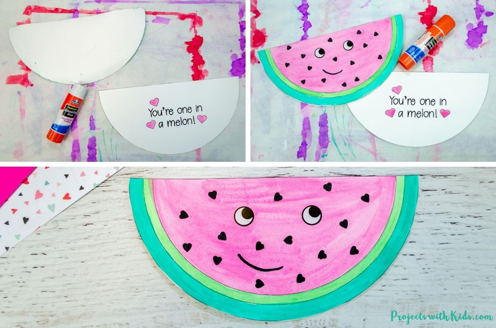 Gluing a watermelon card together.