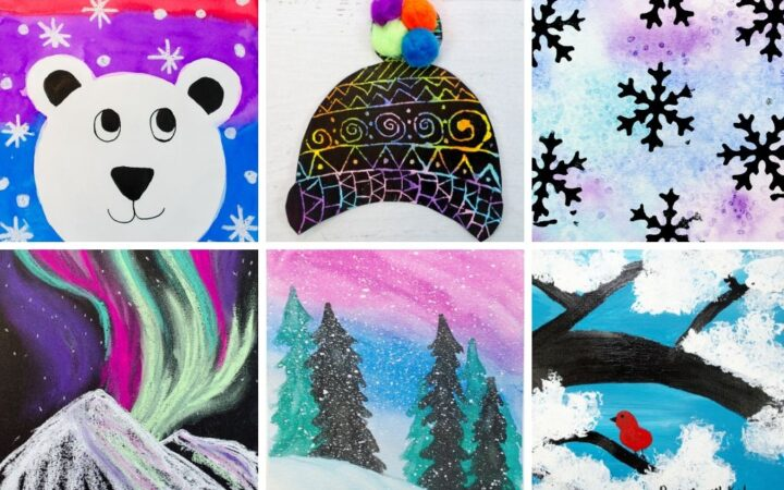Collection of winter art for kids
