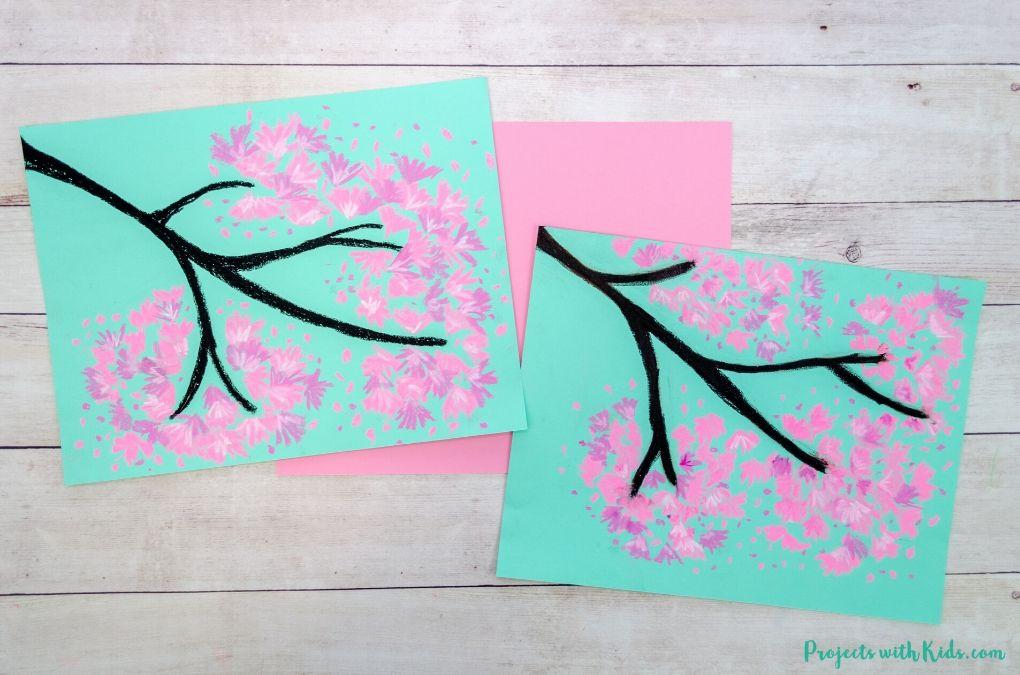 Cherry blossom chalk pastel art for kids to make