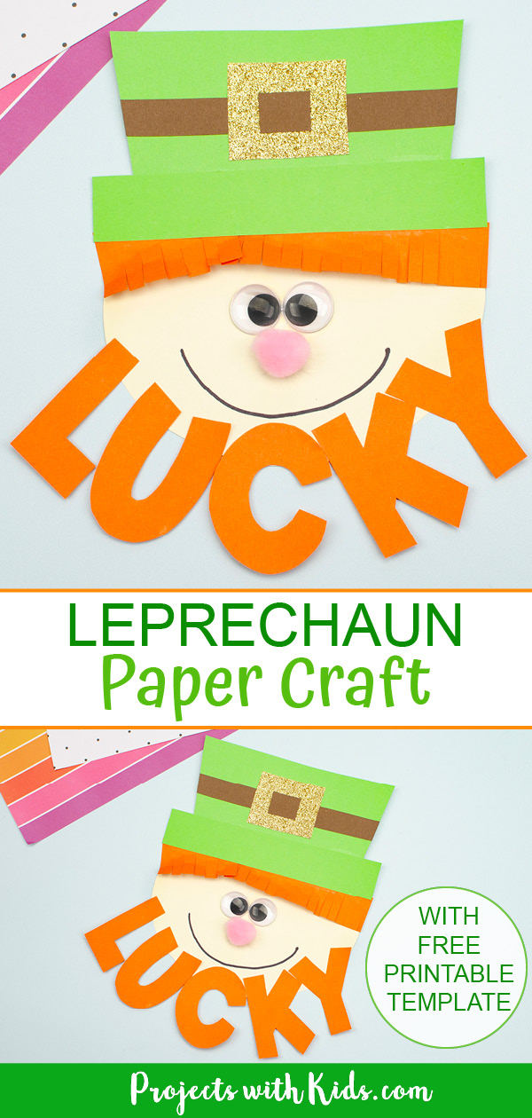 Leprechaun paper craft for St. Patrick's Day with printable template