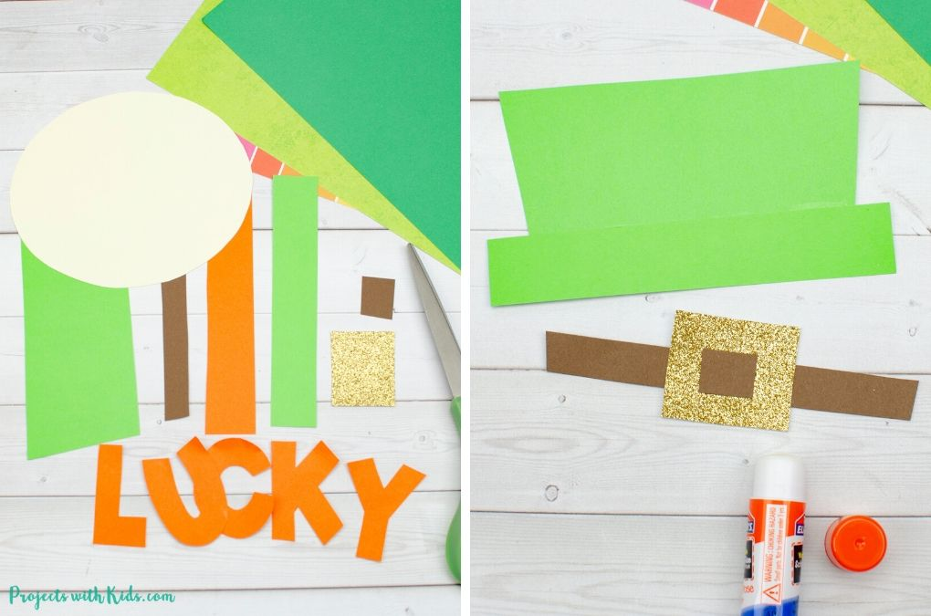 Paper cut outs to but together a leprechaun craft