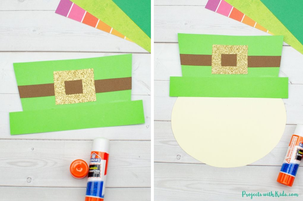 Putting together a leprechaun hat with colored paper.