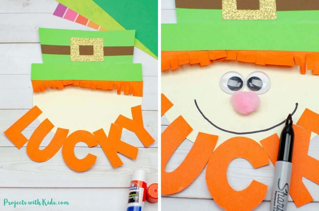 Drawing and gluing a leprechaun's face for a craft