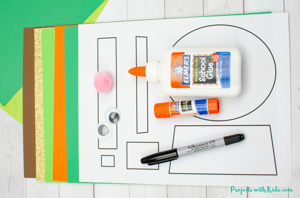 Supplies needed to make a St. Patrick's Day craft