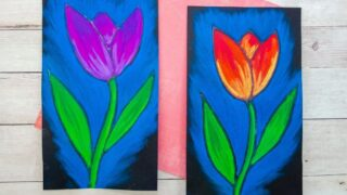 Beautiful Chalk Pastel Tulip Art Project for Kids