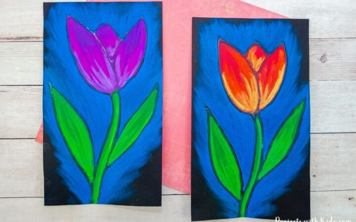 chalk pastel tulip art project for kids to make