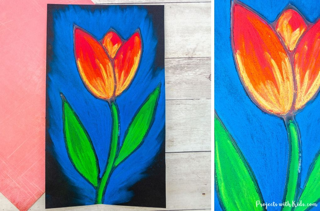 Chalk pastel tulip art spring project for kids to make.