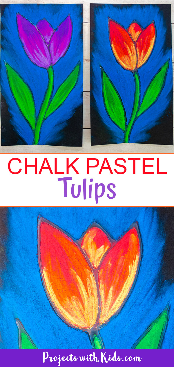 Chalk pastel tulip art project for kids to make.
