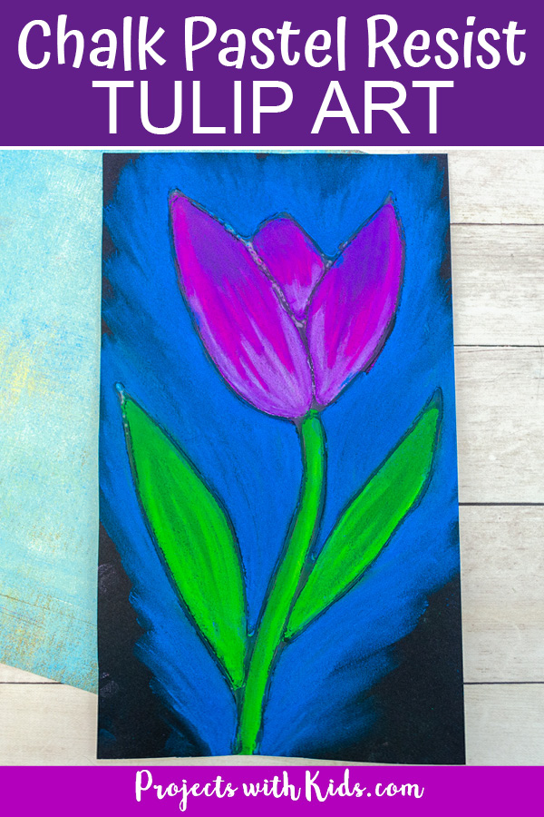 Tulip art project for kids using chalk pastels