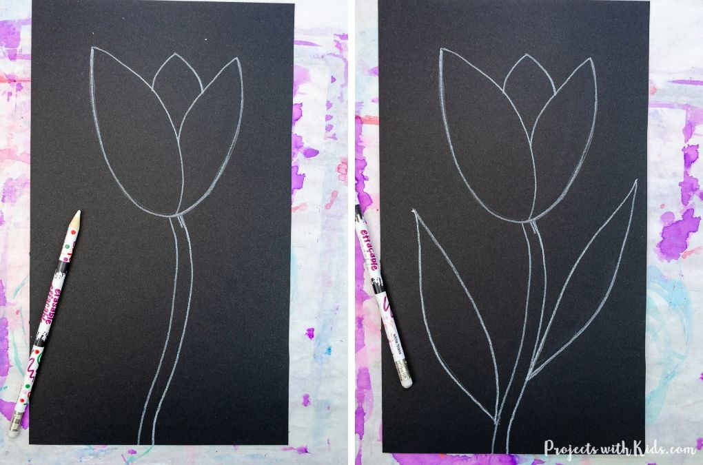 How to draw a tulip on black paper with a white pencil crayon.