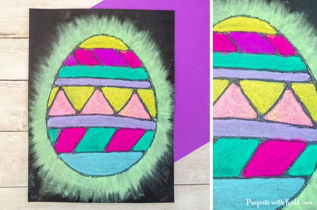 Chalk pastel Easter egg art on black paper using white glue as a resist.