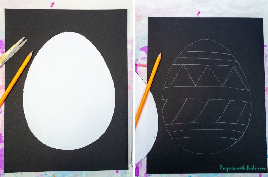 Drawing an Easter egg with pencil on black paper