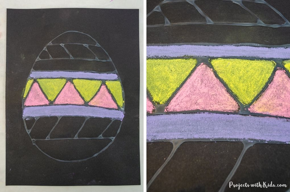 Coloring in an Easter egg drawing with chalk pastels.