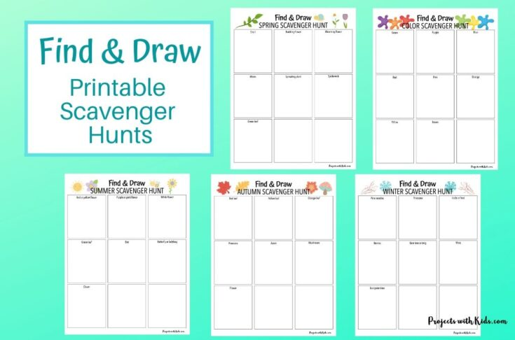 Find and draw printable scavenger hunts for kids to complete.