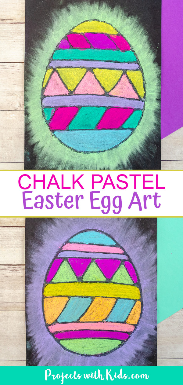Chalk pastel Easter egg art project for kids.
