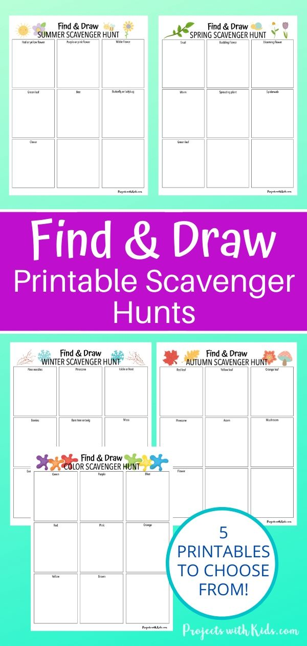 5 find and draw printable scavenger hunts for kids to do.