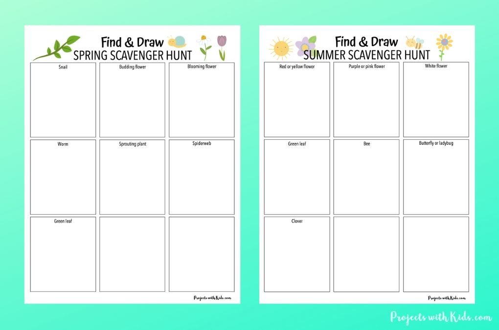 Spring and summer find and draw printable scavenger hunts for kids