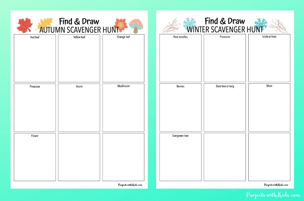 Autumn and winter find and draw scavenger hunt printables for kids to complete.