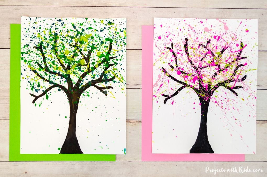 Summer and cherry blossom splatter paint trees art project for kids.