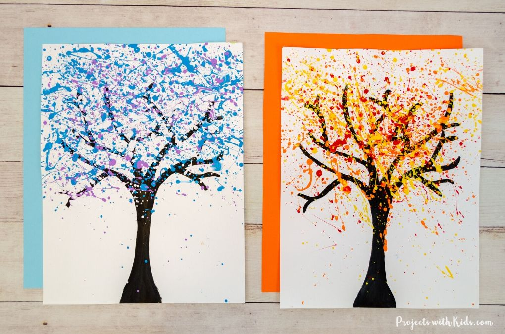 Winter and fall splatter painted trees.
