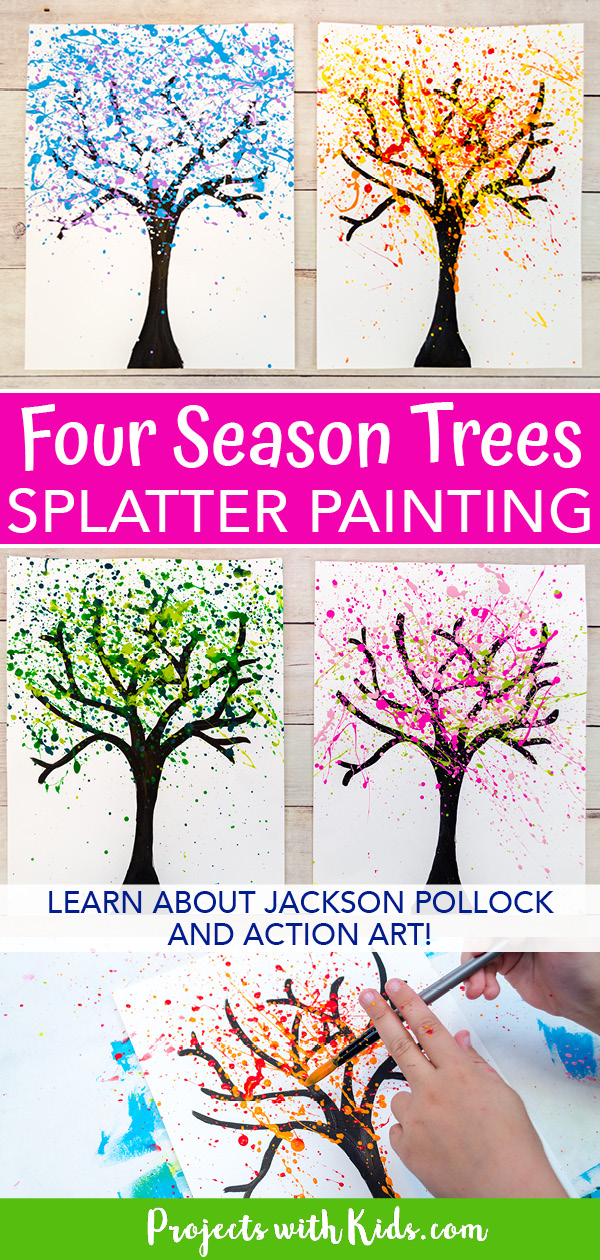 Four season trees pollock inspired splatter painting