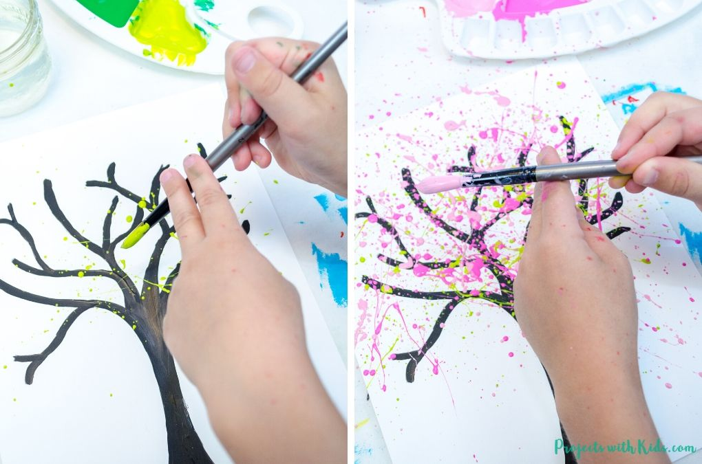 Splatter painting with pink and green paint.