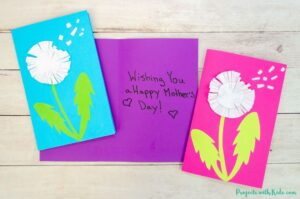 Paper dandelion craft Mother's Day card