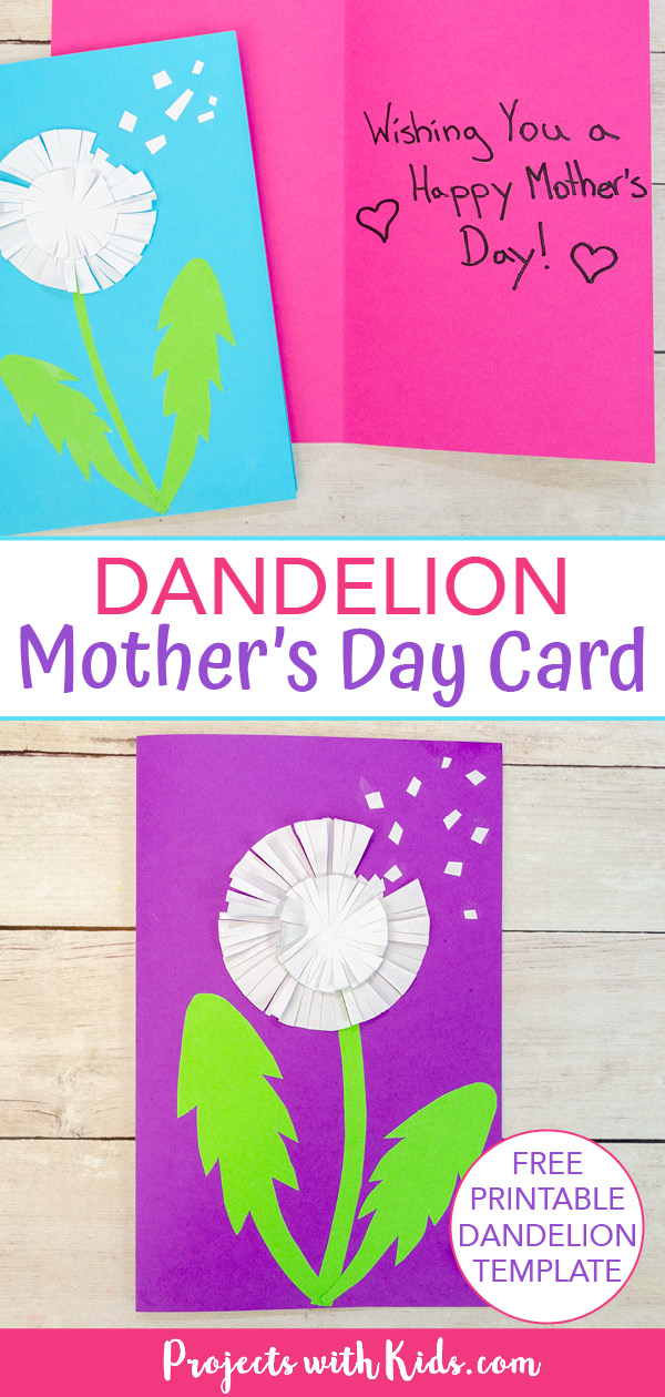 dandelion craft Mother's day card