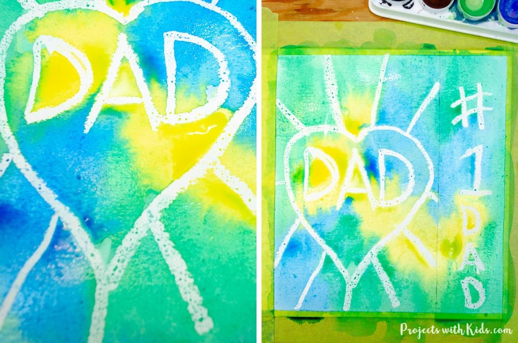 Watercolor and oil pastel resist painting for Father's Day.
