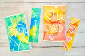 Father's Day watercolor bookmark and card craft and gift idea.
