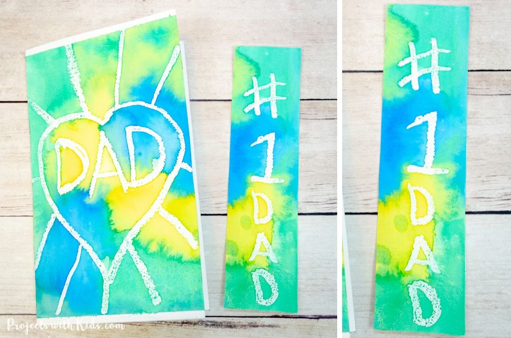 Father's Day bookmark and card watercolor resist project.
