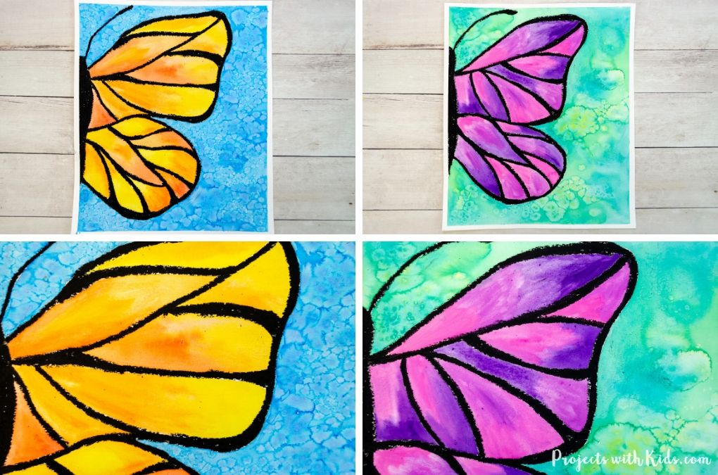 Two different butterfly paintings using watercolor paint and oil pastels.