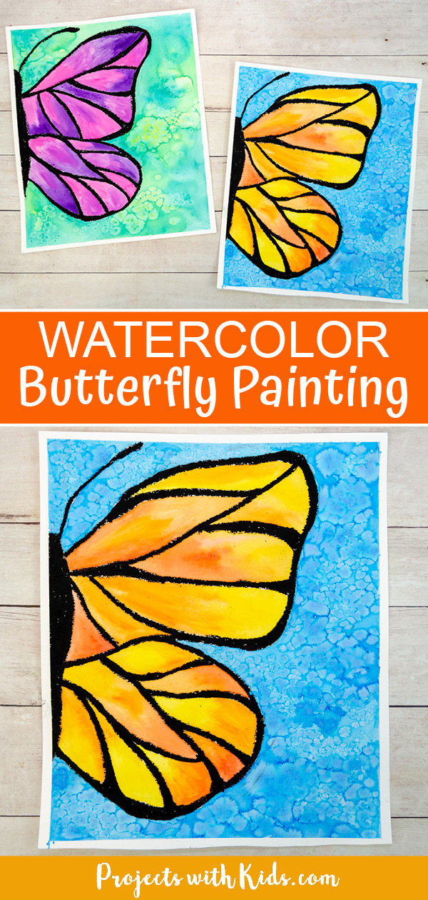 Watercolor buterfly painting for kids to make using watercolor and black oil pastel resist.