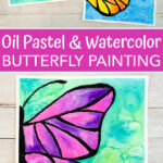 Butterfly art project for kids using watercolors and black oil pastel as a resist.