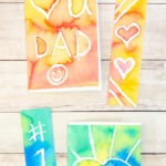 Father's Day art project idea, watercolor bookmark and card set.