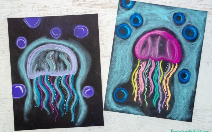 Jellyfish art project for kids to make using chalk pastel on black paper.
