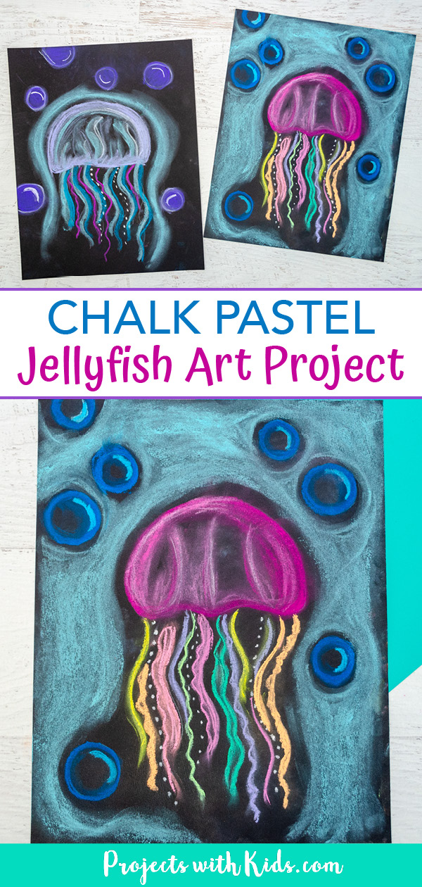 Colorful jellyfish art with chalk pastels