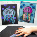 Jellyfish art project with chalk pastels for kids to make