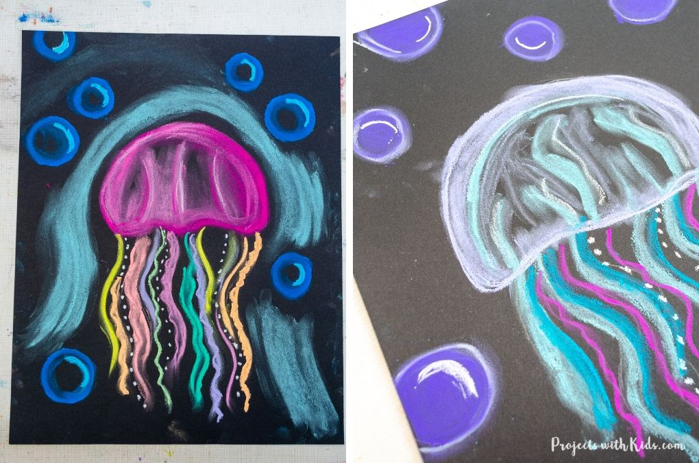 Chalk pastel jellyfish art project for kids