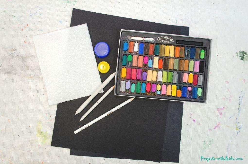 Chalk pastels, black pastel paper