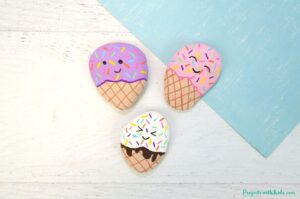 Ice cream painted rocks using acrylic paint and paint pens, kids craft