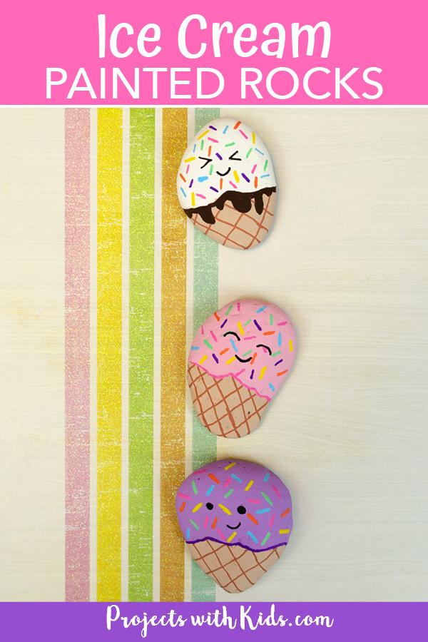 Ice cream painted rocks summer kids craft painting idea