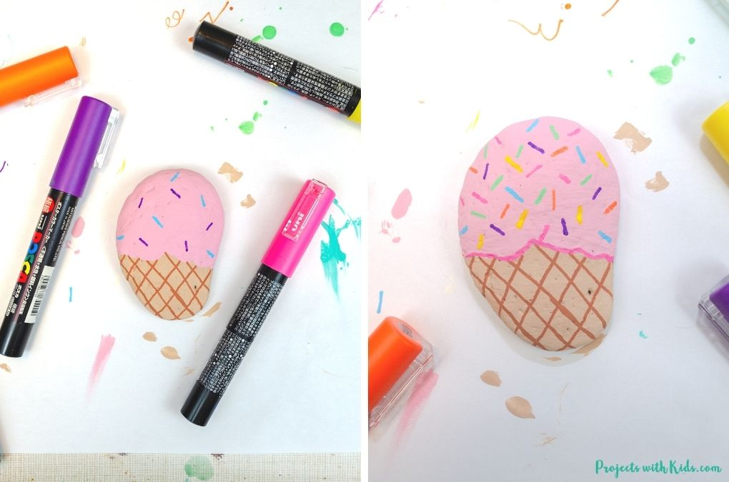 Drawing sprinkles on ice cream painted rocks