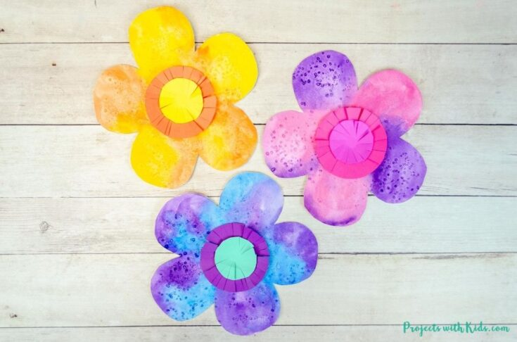 Colorful watercolor flowers easy kids art project