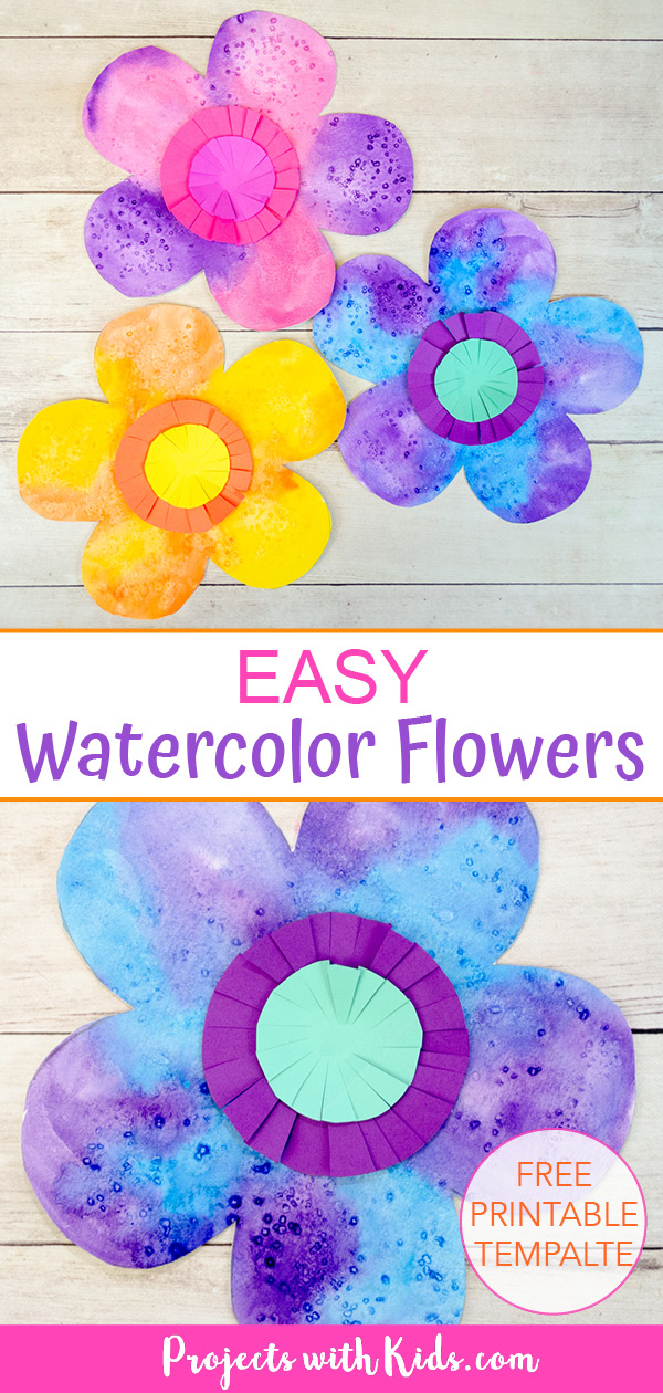 easy watercolor flowers art project for kids to make