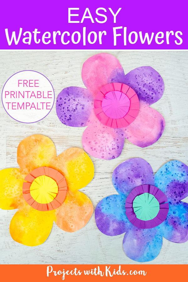 Easy watercolor flowers for kids to make