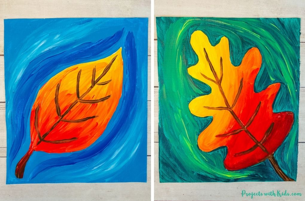 Autumn leaf painting idea for kids and tweens to make.