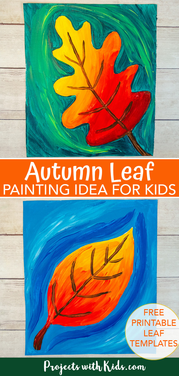 Autumn leaf painting idea for kids to make pinterest image