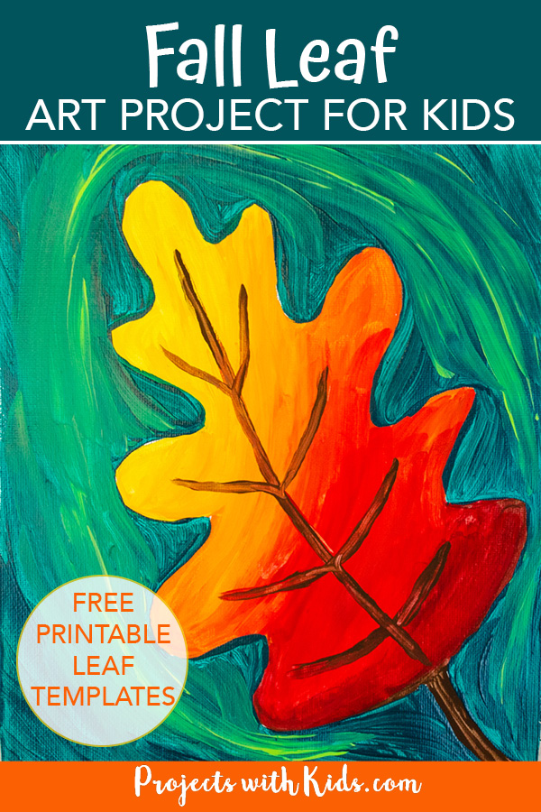 Acrylic fall leaf painting idea for kids