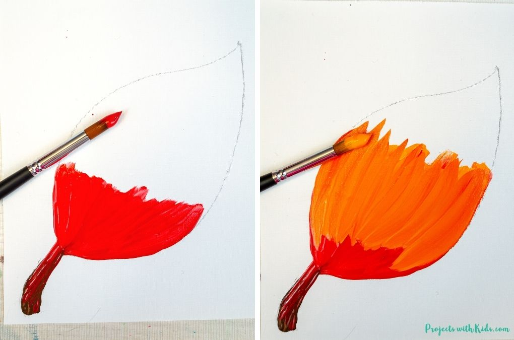 Blending red and orange acrylic paint